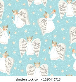 Whimsical Christmas Holiday Scandinavian Style Angels, Snowflakes and Stars on Aqua Background Vector Seamless Pattern. Minimal Nordic Festive Advent Home Backdrop. Trendy Whimsical Print
