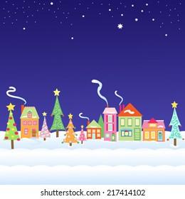 Whimsical Christmas Village Vector Illustration