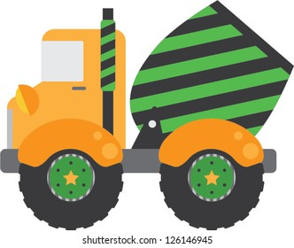 Whimsical construction cement truck with green and black stripes and fun stars on the wheels.