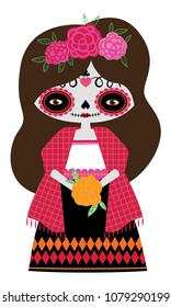 Whimsical day of the dead Catrina doll in red colors