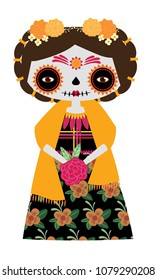 Whimsical day of the dead Catrina doll in yellow colors