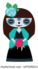 Whimsical day of the dead Catrina doll in blue colors