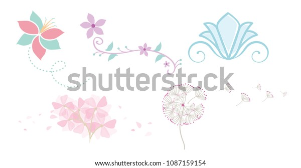 Whimsical Flowers with Blowing Petals