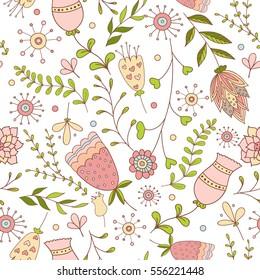 Whimsical Flowers Seamless Pattern. Vector Illustration.