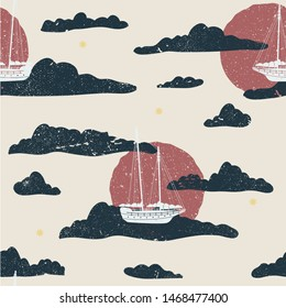 Whimsical flying sailboat seamless illustrated pattern.