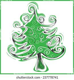 whimsical hand drawn christmas tree