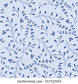 Whimsical Leaves and Branches Seamless Pattern (blue). Vector Illustration.