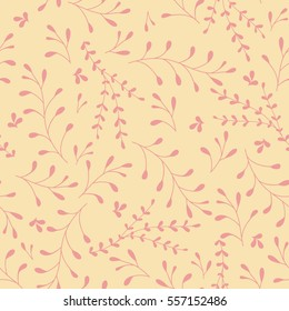 Whimsical Leaves and Branches Seamless Pattern (yellow). Vector Illustration.