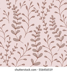 Whimsical Leaves Seamless Pattern (brown). Vector Illustration.