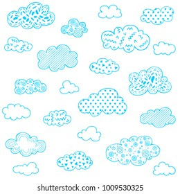 whimsical line art clouds with cute patterns, set of stylized cloud shapes