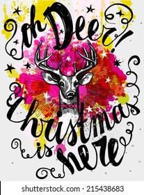 Whimsical mixed media Christmas poster, with hipster reindeer and old fashioned hand lettering, ink on watercolor background