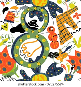 Whimsical pattern with flowers, paw and number eight. Good seamless pattern for decoration textiles. Flowers, bright colors and a happy figure eight in vector format
