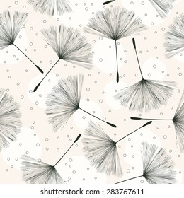 Whimsical pattern with flying dandelions on a light background