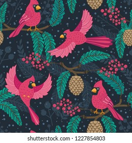 Whimsical repeating pattern. Christmas and winter theme. Red Cardinal birds, pinecones, berries and branches. Perfect for textile, wrapping, print, web and all kinds of decorative projects.