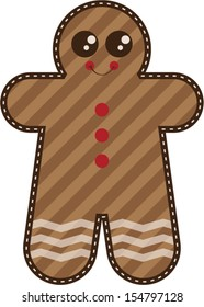 Whimsical seasonal holiday Christmas gingerbread man cookie with stripes and red button icing and white zig zag icing.