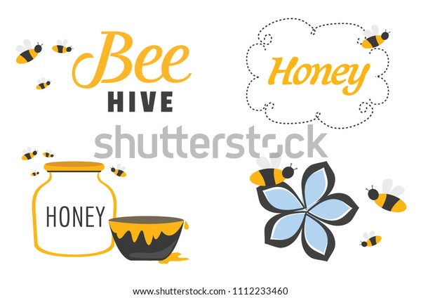 Whimsical Set of Bees and Honey