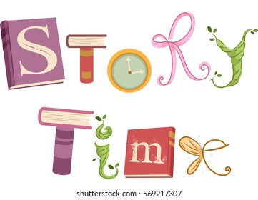 Whimsical Typography Illustration Featuring Vines, Ribbons, Wings, and Storybooks That Spell the Words Story Time