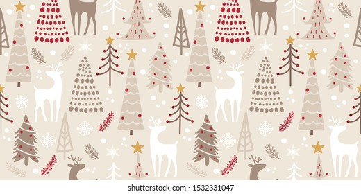 whimsical winter forest seamless pattern for decoration, wallpaper and many more