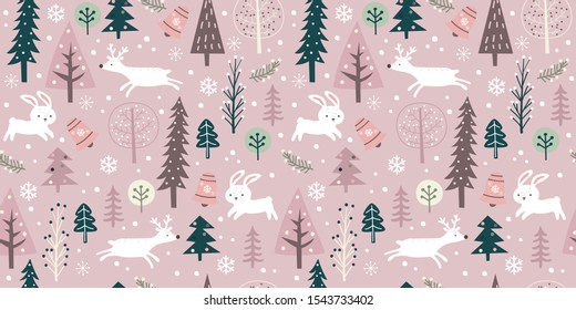 whimsical winter pattern for decoration, wallpaper, and many more