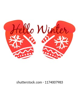 Whinter red gloves on white background vector illustration flat desing