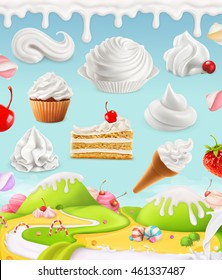 Whipped cream, cake and candy, 3d mesh illustration
