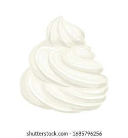 Whipped cream isolated on white background. Vector illustration of dessert in cartoon flat style. Food icon.