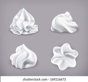 Whipped cream, vector icon set