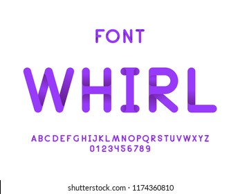 Whirl font. Vector alphabet letters and numbers. Typeface design.