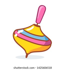 Whirligig on a white background. Children's toy in cartoon style. Vector illustration.