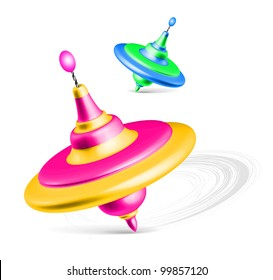 Whirligig, peg top on white. Humming-top, whipping-top toys vector illustration
