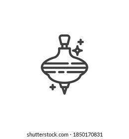 Whirligig toy line icon. linear style sign for mobile concept and web design. Spinning top toy outline vector icon. Symbol, logo illustration. Vector graphics