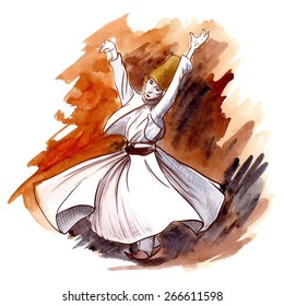 Whirling Dervish dancing is one of the famous tourists attraction in Istanbul. Watercolor sketch with a line drawing in separate layers. Isolated against white background. EPS10 vector illustration.
