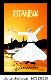 Whirling Dervish and Istanbul vector poster. Symbolic study of Mevlevi mystical dance. This painting represents a movement of this dance. It can be used as wall board, banner, gift card.