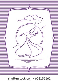 whirling dervish silhouette vector