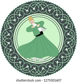 Whirling Dervish. Sufi. EPS format Vector Drawing. Symbolic study of Mevlevi mystical dance. It can be used as wall board, Wall plate, banner, gift card or book separator.
