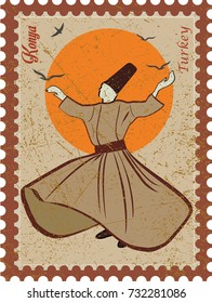 Whirling Dervish sufi religious dance. Isolated. Suitable for any print and on line media need - Turkey Konya Mevlana