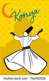 Whirling Dervish sufi religious dance. Isolated. Suitable for any print and on line media need