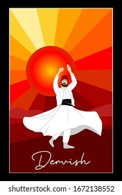 Whirling Dervish and sunset vector poster. Symbolic study of Mevlevi mystical dance. This painting represents a movement of this dance. It can be used as wall board, banner, gift card.