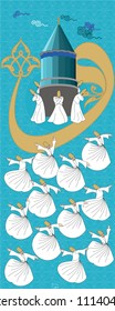 Whirling dervish vector drawing. Sufi or Dervish. Symbolic study of mevlevi mystical dance. You can use it as a table, wall clock, banner, poster, gift card or book separator.