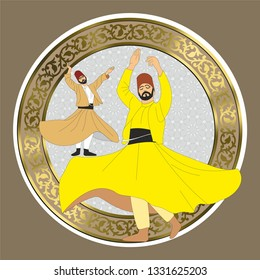 Whirling dervish vector drawing. Symbolic study of mevlevi mystical dance. You can use it as a table, wall clock, wall paper, banner, gift card or book separator.