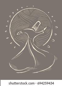 whirling dervish vector illustration