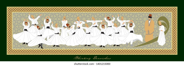 Whirling Dervishes Big vector poster. Symbolic study of Mevlevi mystical dance. This painting represents a movement of this dance. It can be used as wall board, banner, gift card or book separator.