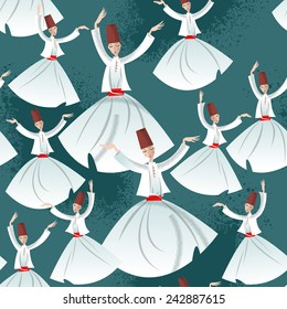 Whirling Dervishes. Seamless background pattern. Vector illustration