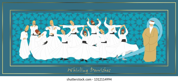 Whirling Dervishes. Symbolic study of Mevlevi mystical dance. This painting represents a movement of this dance. It can be used as wall board, banner, gift card or book separator.