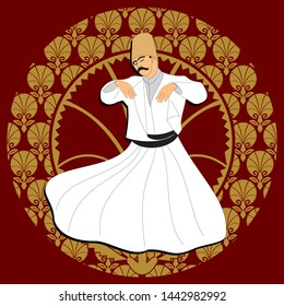 Whirling Dervishes vector poster. Symbolic study of Mevlevi mystical dance. This painting represents a movement of this dance. It can be used as wall board, banner, gift card or book separator.