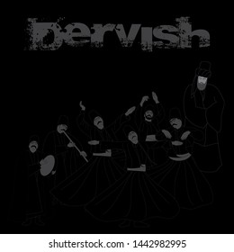 Whirling Dervishes vector poster. Symbolic study of Mevlevi mystical dance. Black background, chalk drawing.  It can be used as wall board, banner, gift card or book separator.