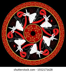 Whirling Dervishes and Wav vector poster. Symbolic study of Mevlevi mystical dance. This painting represents a movement of this dance. It can be used as wall board, banner, gift card.