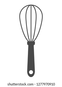 Whisk icon. Drop shadow beater icon. Cooking utensil. Egg beater. Kitchen beater tool isolated illustration. Whisk logo concept. Vector wire whisk silhouette symbol.