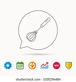 Whisk icon. Kitchen tool sign. Kitchenware whisking beater symbol. Calendar, Graph chart and Cogwheel signs. Download and Shield web icons. Vector