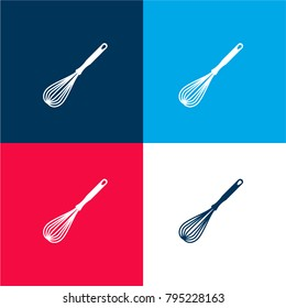 Whisk kitchen tool four color material and minimal icon logo set in red and blue